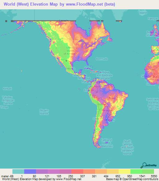 World Elevation Map World Elevation Map: Elevation and Elevation Maps of Cities  World Elevation Map